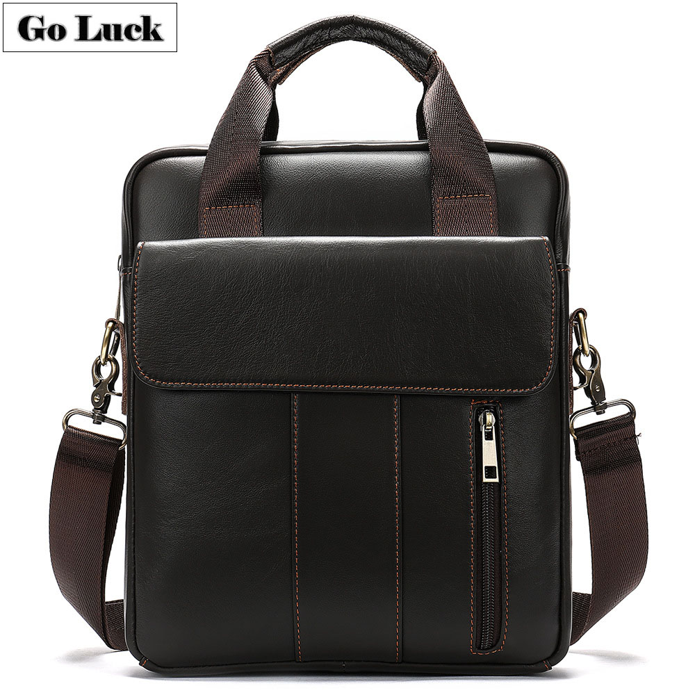 2019 New A4 File 13.3' Laptop Computer Business Briefcase Portfolio Men Genuine Leather Handbag Men's Shoulder Messenger Bag