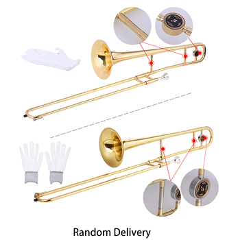 Ammoon puzon altowy mosiądz złoty lakier Bb Tone B płaski Instrument dęty z Cupronickel ustnik do czyszczenia kija tanie i dobre opinie Tenor Trombone Żółty mosiądzu