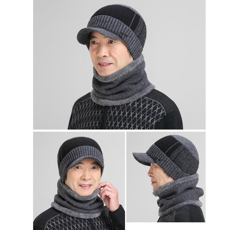 Middle-aged Men's Winter Knit Caps Earmuffs Thick Warm Wool Caps Warm Fleece Soft Breathable Caps Scarf Two-piece