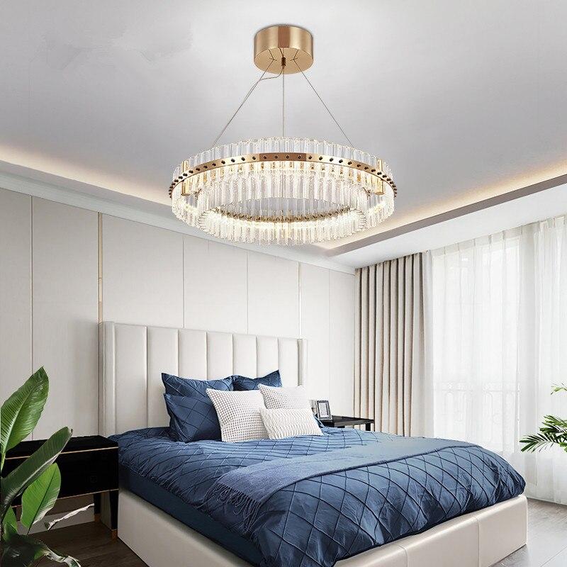 Современная хрустальная люстра для гостиной, светодиодный светильник в виде кольца, люстры для спальни, потолочные светильники, Золотая Бр