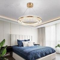 Contemporânea sala de estar lustre cristal led anel lustres quarto luzes teto bronze dourado/cromo