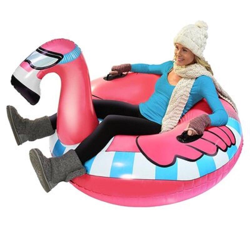 Ski Circle Inflatable Flamingo Unicorn Ring For Adult Skiing Ring Swimming Circle Pool Swimming Mattress Beach Water Snow Toy