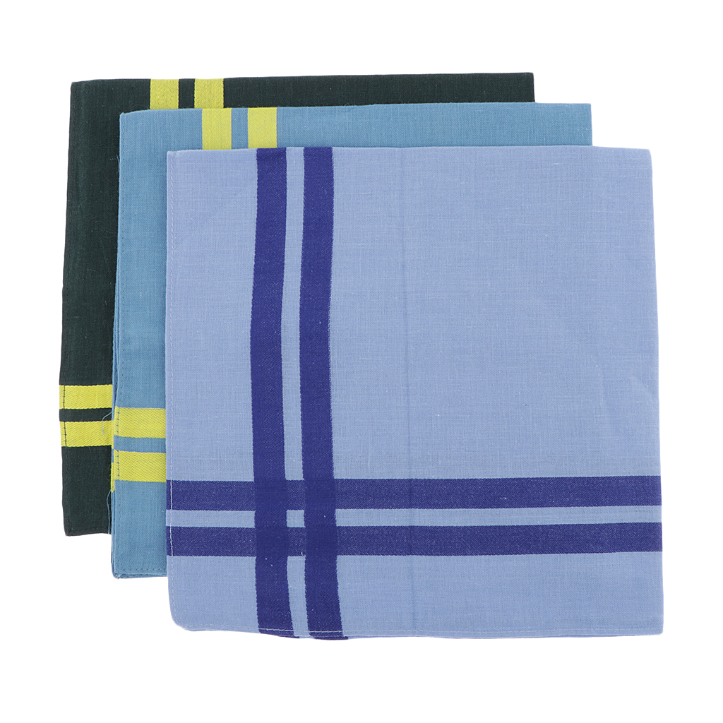 3x Mens Handkerchiefs 100% Cotton Pocket Hankies Hanky Party Kerchiefs
