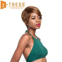 Ombre צבע ישר שיער טבעי פאות לנשים שחורות X TRESS ברזילאי פאה 10 אינץ קצר בוב ללא רמי שיער פאה צד חלק
