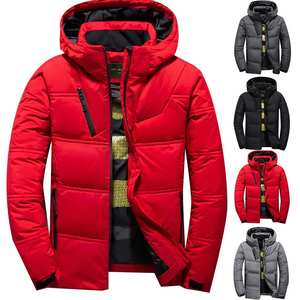 Newest Men Winter Solid Color Zip Warm Hooded Down Jacket Outdoor Sports Parka Coat