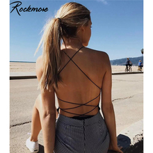 Rockmore Spaghetti Straps Playsuits Women Criss Cross Backless Sexy Bodysuits Sk