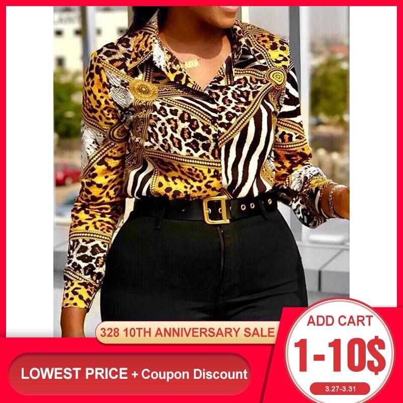 Винтажные летние женские леопардовые блузки с желтым принтом, большие размеры, офисные женские сексуальные повседневные Ретро Топы с длинн...
