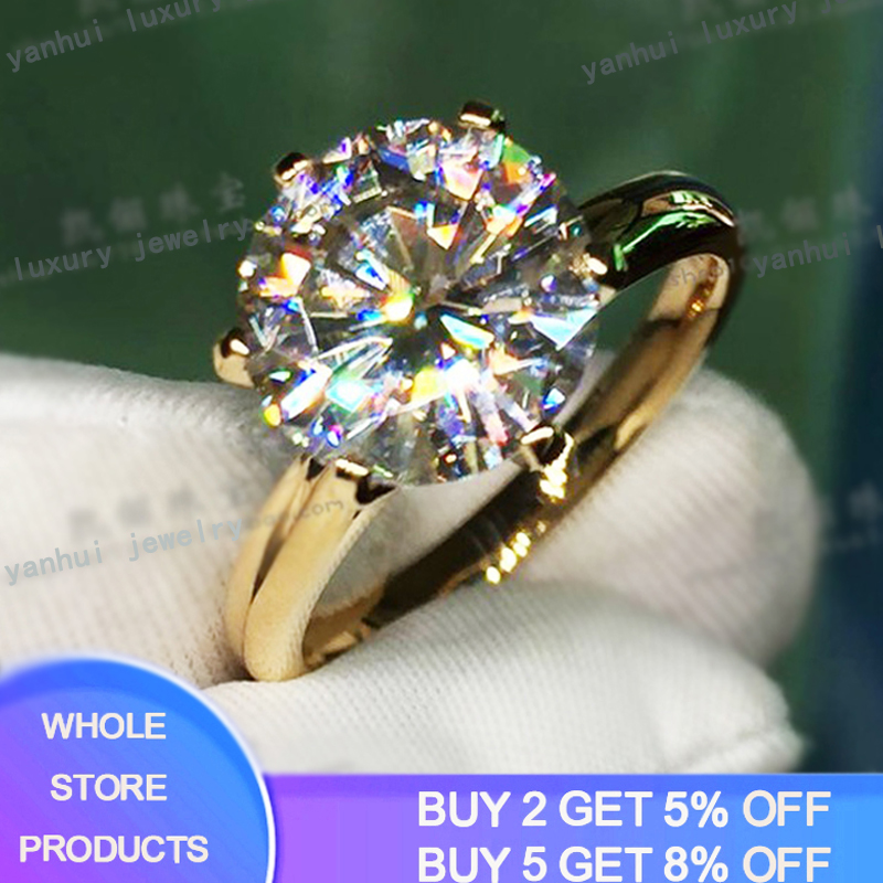 YANHUI Have 18K RGP LOGO Pure Solid Yellow Gold Ring Luxury Round Solitaire 8mm 2.0ct