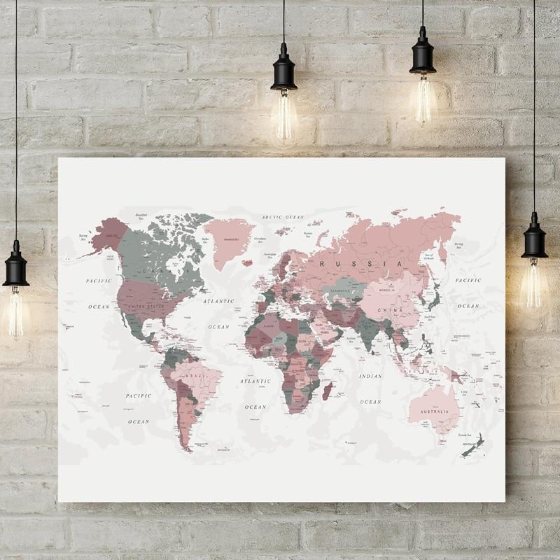 Toile du monde rose et chasseur imprimé | Affiche de carte du monde, décor de dortoir, peinture dimages, Art mural moderne, décoration