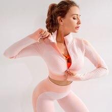 Топ для йоги с длинным рукавом спортивный топ фитнеса женская