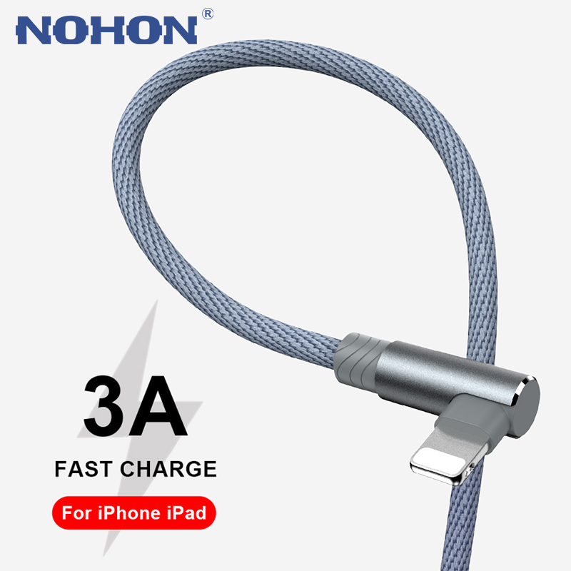 3m 90 Degree USB Fast Charging Cable For iPhone 7 8 6 6s Plus 11 12 Pro Max Xs X XR SE Mobile Phone Charger Cord Data Long Wire