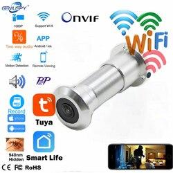 TUYA Onvif дверного глазка отверстие безопасности 1080P 180 градусов Широкий формат с рыбими глазами для кабельного делевидения и сетевые мини двер...