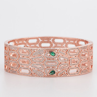 Inlay Zircon Snake Eyes In The Green Bracelet Hollow Out of Individual Character Vogue Bracelet Bangles Ladies Hand Bangles
