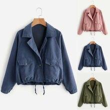купить Women Ladies Short Button Coat Bomber Jacket Vintage Summer Pocket Coat Cardigan по цене 1200.37 рублей