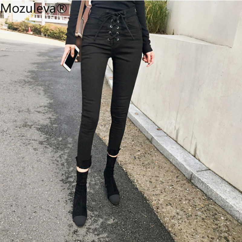 Mozuleva 2019 Slim Jeans For Women Skinny High Waist Jeans Woman Denim Pencil Pants Stretch Waist Drawstring Women Push Up Pants
