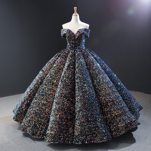 Image 4 - חתונת שמלת 2020 גברת Win יוקרה פאייטים סירת צוואר כדור שמלת נסיכה בלינג בלינג חתונת שמלת Vestido דה Noiva מותאם אישית גודל