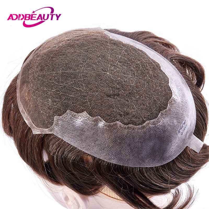 AddBeauty Toupee Men <font><b>Wig</b></font> Handmade Replacement Systems Full French <font><b>Lace</b></font> With Transparent Thin Skin Indian Natural Remy Hair 6inch image