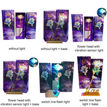 Luminous Rose Eternal Flower Valentine Gift Party Anniversary Luminescence 24K Gold Foil Romantic Beautiful Props Wedding