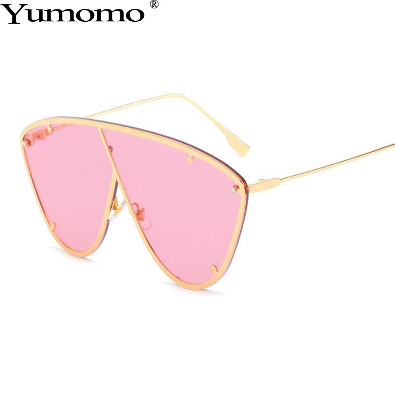 Yumomo Oval Sunglasses Women Fashion Trendy Personlity Metal Cat Eye Frame Pink Brown Tinted Color Lens Ladies Eyewear UV400 in Women 39 s Sunglasses from Apparel Accessories