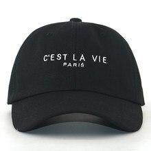 Casquette de baseball avec lettres brodées, C'EST LA VIE, PARIS, 100% coton, noir pur, mode, hip hop, papa, chapeau de sport pour hommes