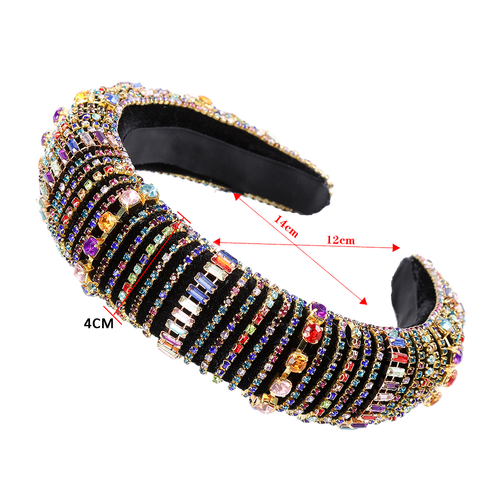 Haimeikang Velvet Hairbands Sponge Rhinestones Colored Thick Fashion Luxury Bride Gorgeous