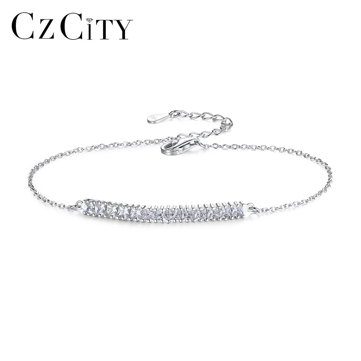 CZCITY Brand Minimalism Bracelet For Women Party Delicate 925 Sterling Silver With Shiny CZ Thin Chain Fine Jewelry SB0055