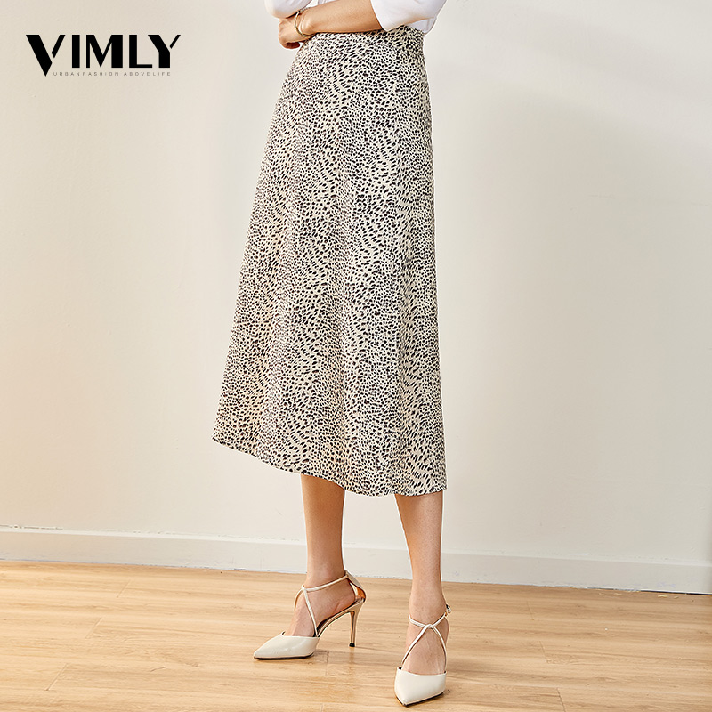 Vimly Women Midi Leopard Print Skirt Office Ladies A-Line High Waist Skirt Female Casual High Street Wear Skirts
