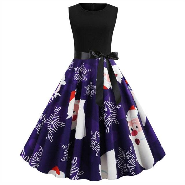 Joineles New Arrivals Women Christmas Dress Winter Round Neck Sleeveless High Waist Vintage Dress Rockabilly Retro Dress