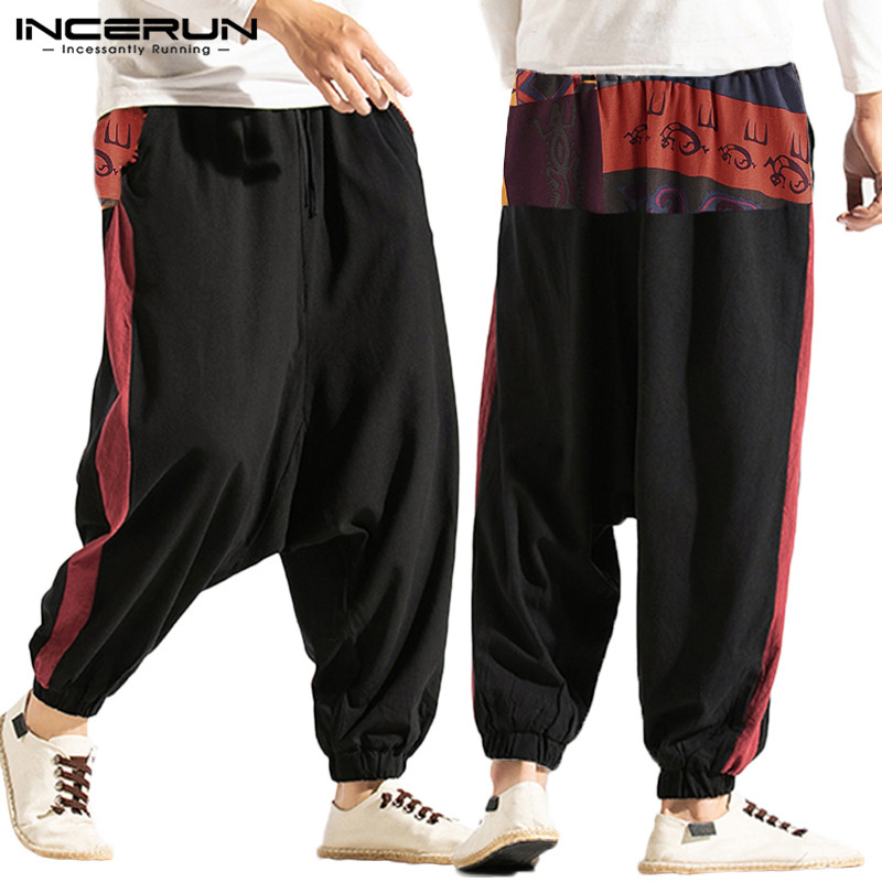INCERUN Men Harem Pants Printed Patchwork Joggers Streetwear Baggy Drop-crotch Pants Men Casual Chic Cotton Trousers S-5XL 2020
