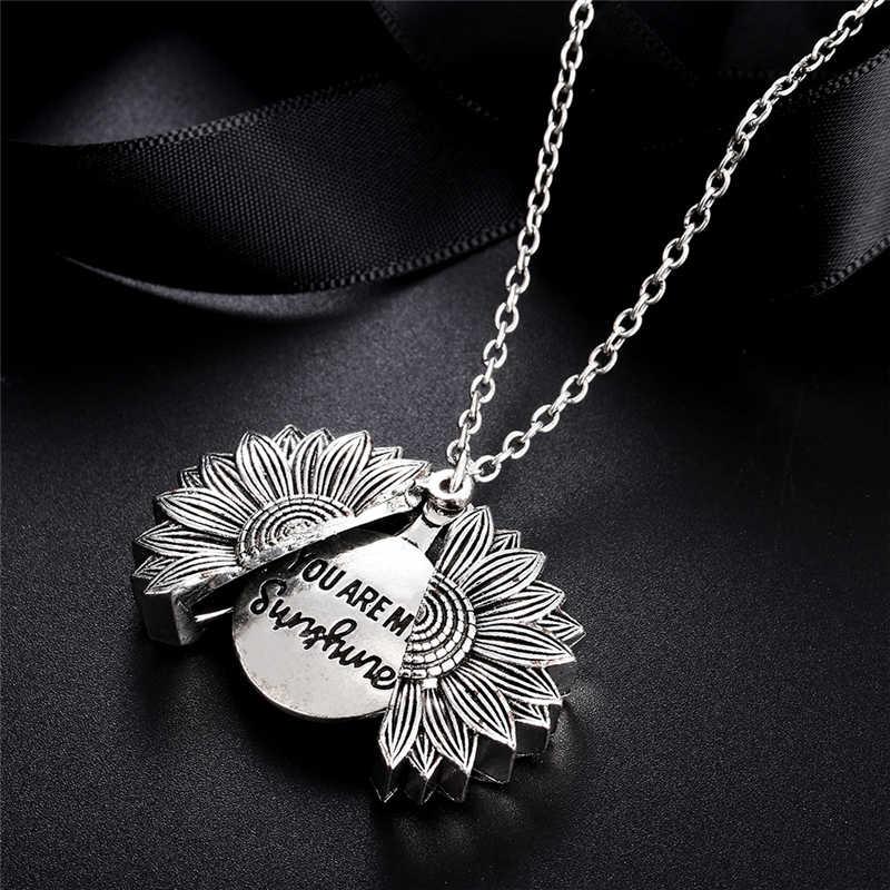 """แฟชั่น Boho สร้อยคอจี้ """"ของฉัน Sunshine"""" Sunflower Alloy เปิด Locket สร้อยคอผู้หญิงคนรักสร้อยคอเครื่องประดับ"""
