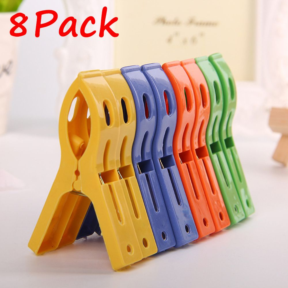 Hot sale new 8ps/set plastic hanger clips Laundry Clothes Beach Towel Pins Spring Clamp Large Clips NEW arrival