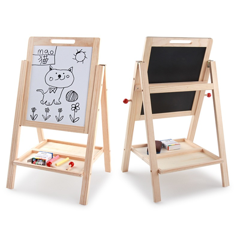 Large Size Solid Wood CHILDREN'S Drawing Board Easel Double-Sided Magnetic Adjustable Baby Writing Board Whiteboard Braced Small