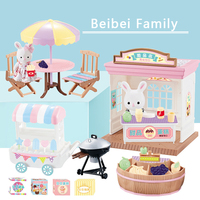 Beibei Family Play House Bunny Ice Cream Car Dessert House Darbecue Shop Simulation Model Children Play House Toy Girl Gift