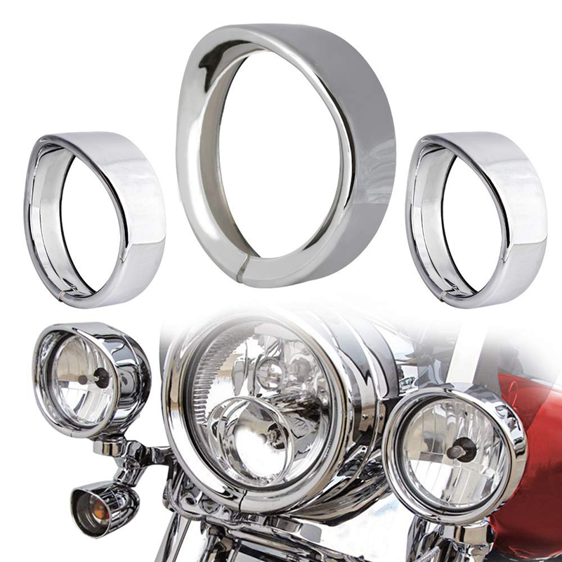 Motorcycle Lights Bezel Frenched Ring Kit Compatible With Harley, 7 Inch Headlight Trim Ring Decorate Visor + 4 1/2 Inch(4.5 Inc