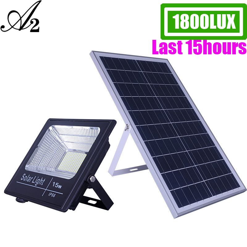 A2 Solar Light Super Bright 1800Lux Solar Lamp 15000mA Battery Wireless Outdoor Garden Waterproof Large Solar Panel Light