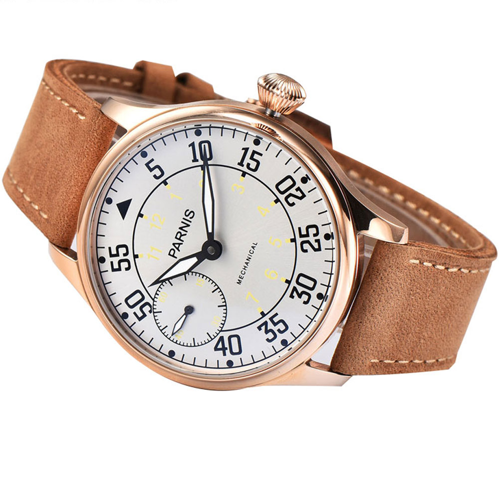 44mm parnis white dial Luminous marks Rose Golden Plated 6497 Hands Winding Mechanical mens watch