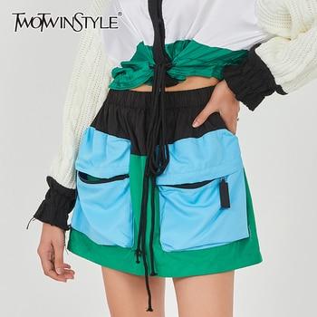TWOTWINSTYLE Pocket Blue Mini Skirt For Women High Waist Drawstring Hit Color Skirts Female 2020 Summer Fashion New Clothing drawstring waist color block letter skirt