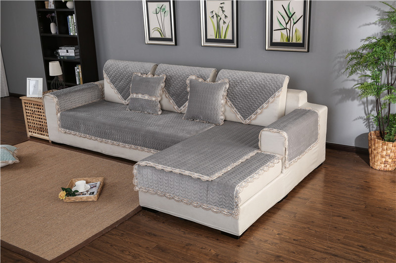 Thick Slip Resistant Couch Cover for Corner Sofa Made with Plush Fabric Including Lace for Living Room Decor 53