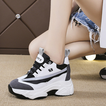 Autumn New Women Chunky Sneakers 2019 Reflective Thick Sole Platform White Casual Heightening Shoes