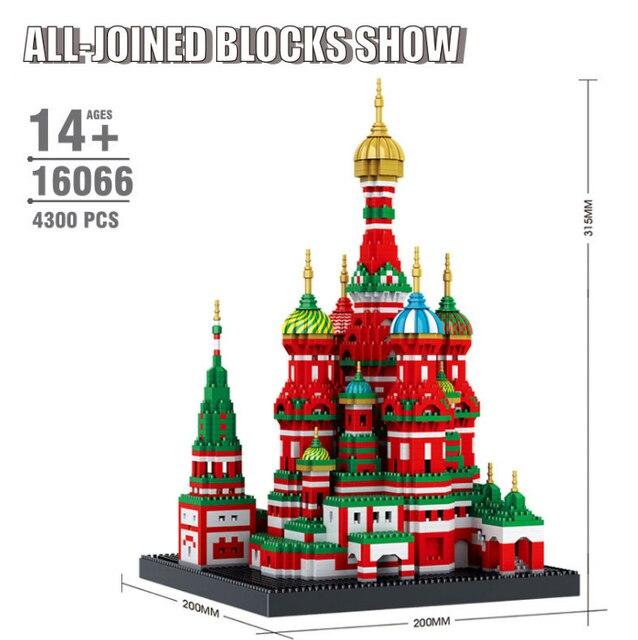 Mini Blocchi di Diamante Architettura Mattoni Giocattolo della Cattedrale di San Basilio Taj Mahal Bambini Compatibile Città Regali