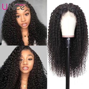Unice Wig Human-Hair-Wigs Lace-Frontal Curly Hair-360 Brazilian Pre-Plucked Remy