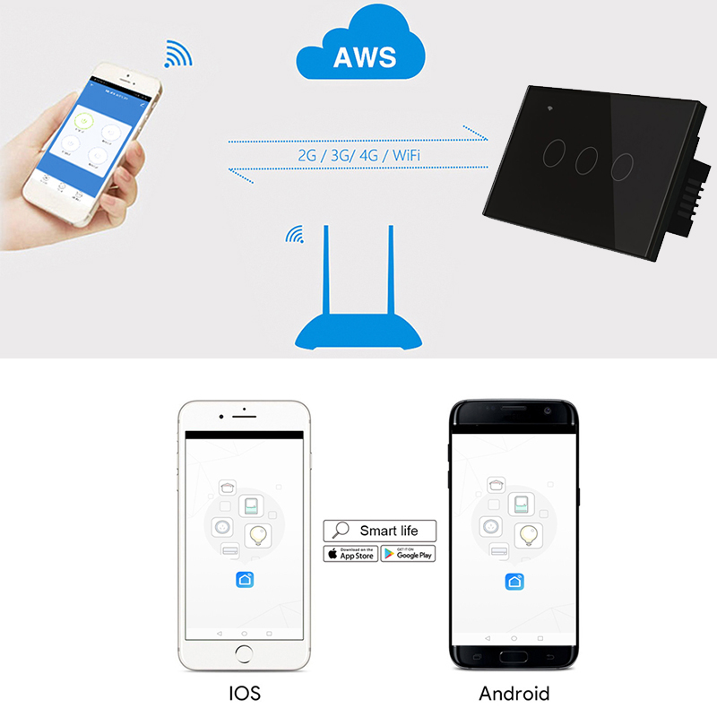 Somgoms Smart Wifi Touch Wall Light Switch, No Neutral Wire, APP Remote Home Drive,works with Alexa Google ,1/2/3/4 Gang