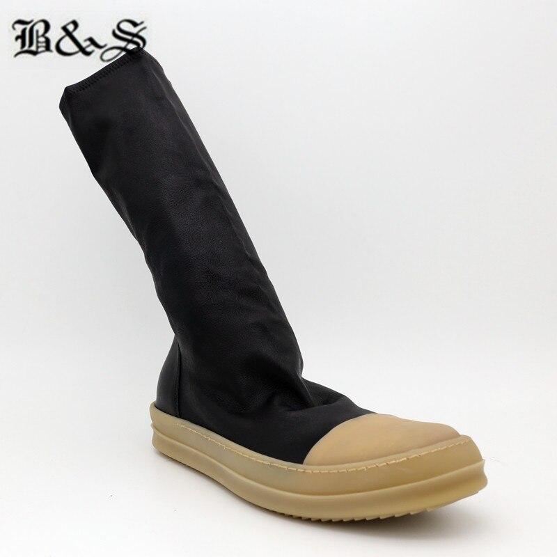 Black & Straat 38cm stretch stof + echt leer platte slip op trainer MID Kalf sok Laarzen nieuwe legergroen kleur hip hop laarzen - 3