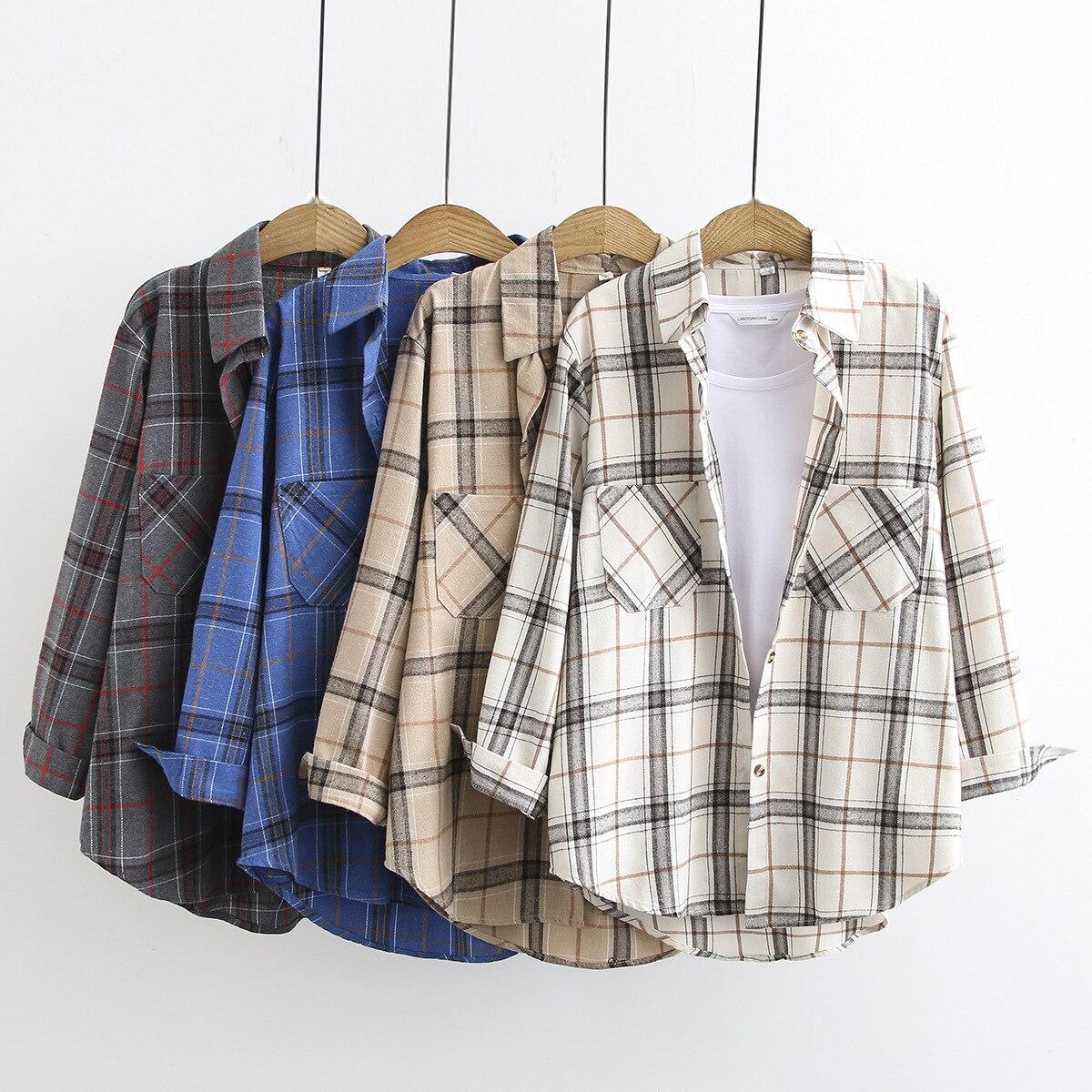 2020 ZSIIBO Plaid Shirt Long Sleeve Women's Summer Loose Casual Sun Clothes Splicing Plaid Ladies Shirt