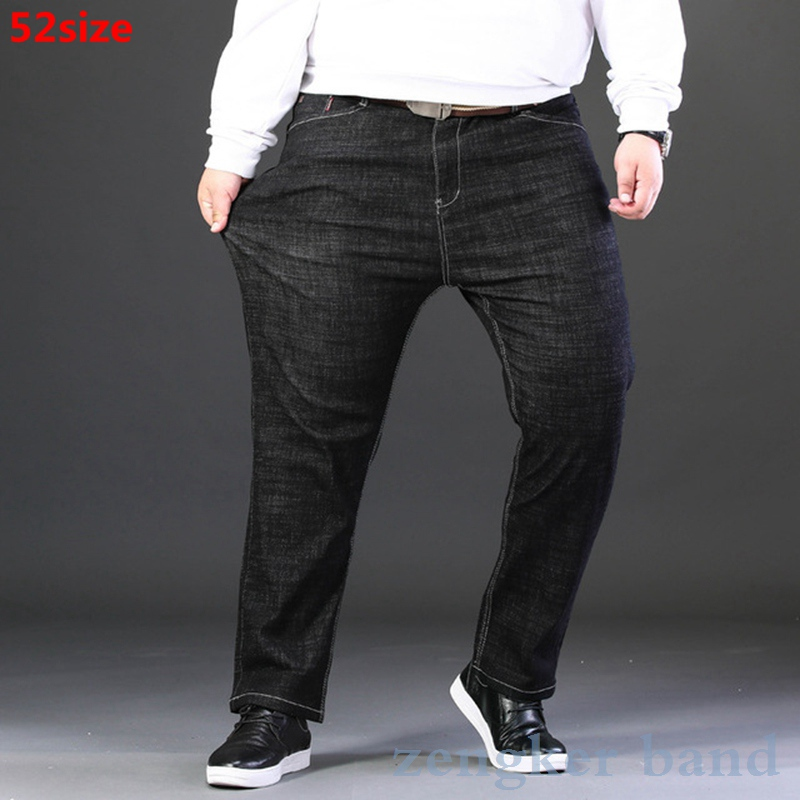 Spring Men's Jeans Men's Loose And Oversized Men's Pants 50 160kg Large Size Pants Men 52 Mens Jeans Brand  Black