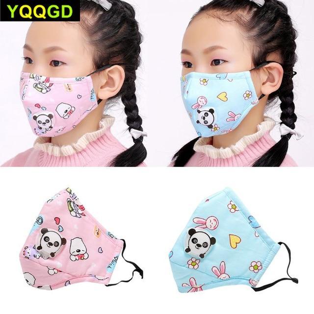 1Pcs Winter Children Mask Respiratory Valve Cartoon Panda Thicken Smog Mask Warm Mask Fits 2-10 Years Old Kids 5