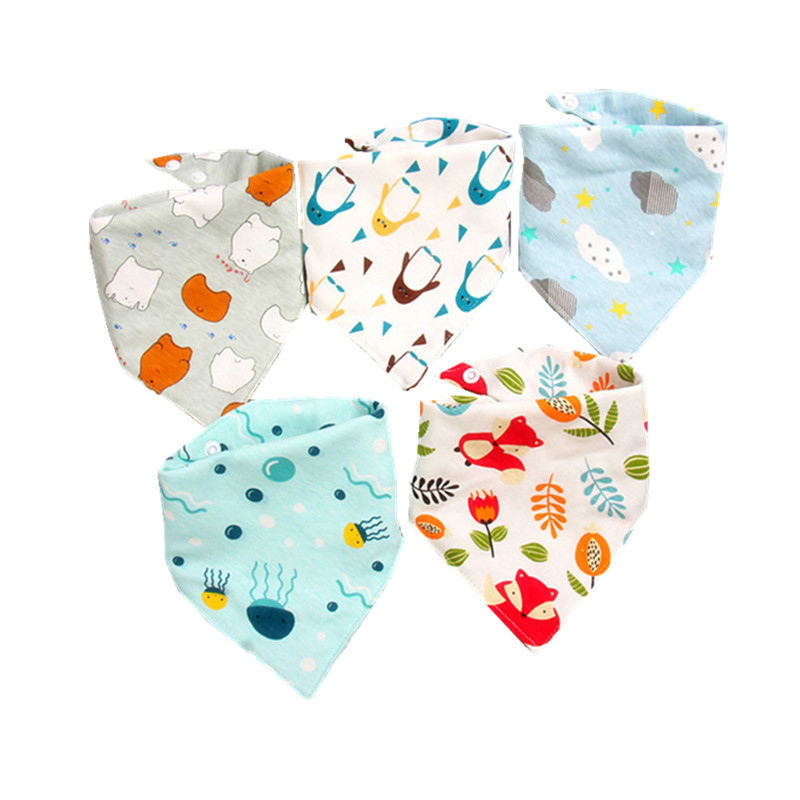 5 Pieces Baby Bibs Cotton Triangle Double Towel Bibs Cartoon Baby Boys Girls Scarf Feeding Apron Cotton Bandana Bibs Clothing