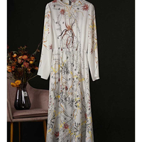 Cosmicchic 2020 Floral Print Maxi Holiday Beach Dress Long Sleeve Elegant Silk Long Dress Runway Design Loose Party Dresses
