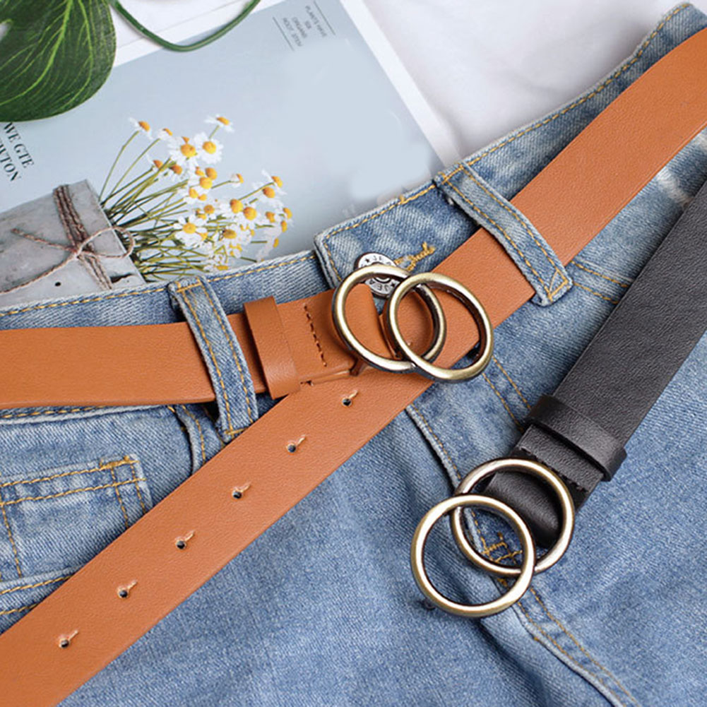 Women Leather Belt Jeans Pants Waist Strap With Double O-ring Alloy Buckle B99