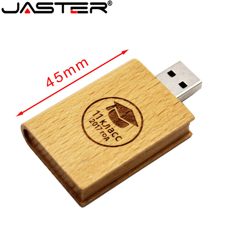 JASTER Custom LOGO Maple Wood Book Style USB Flash Pen Drive 4GB 16GB 32GB 64GB Pendrive USB 2.0 Flash Disk(Over 5pcs Free Logo)